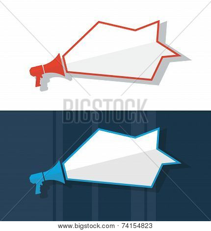 Flat design vector megaphone illustration