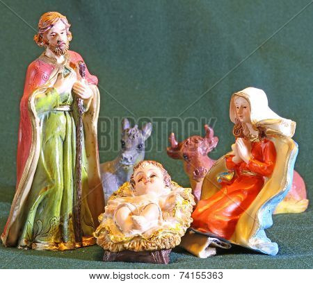 Mary And Joseph With The Child Jesus In The Manger Of The Crib