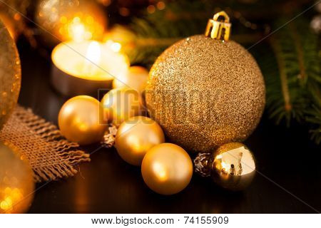 Warm Gold Christmas Candlelight Background