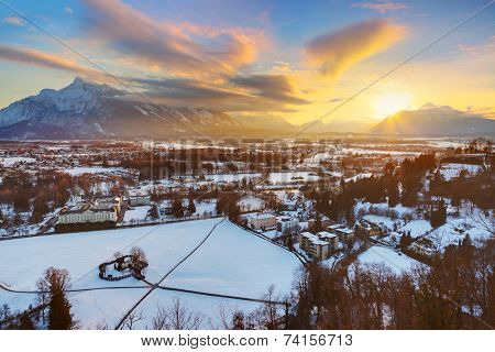 City and hangman house at sunset - Salzburg Austria