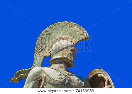 Statue of king Leonidas in Sparta, Greece - history background