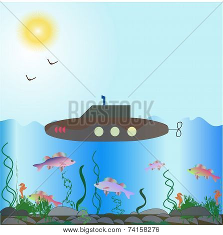 Vector composition of the underwater world with a submarine