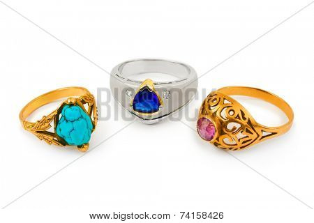 Rings and jewelry isolated on white background