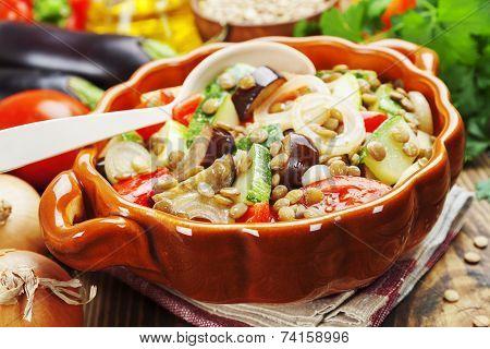 Steamed Vegetables And Green Lentils