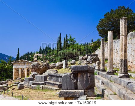 Ruins of the ancient city Delphi, Greece - archaeology background