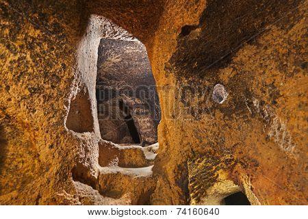 Derinkuyu cave city in Cappadocia Turkey - travel background