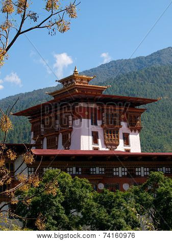 Shot Of The Punakha Dzong In Bhutan