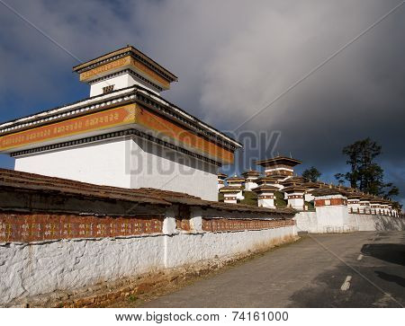 The 108 Chortens On The Dochula Pass Between Punakha And Thimpu In Bhutan