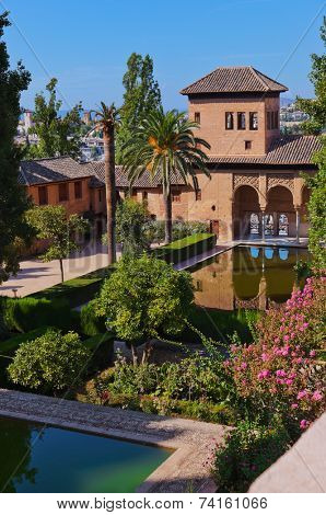 Alhambra palace at Granada Spain - architecture and nature background