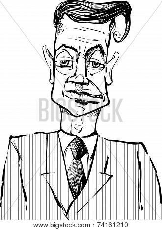 Man In Suit Drawing Illustration