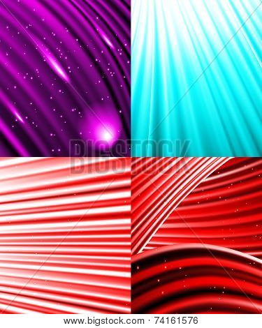 Set of Snow and stars are falling on the background colour luminous rays. Vector