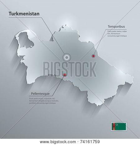 Turkmenistan map flag glass card paper 3D vector