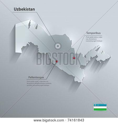 Uzbekistan map flag glass card paper 3D vector