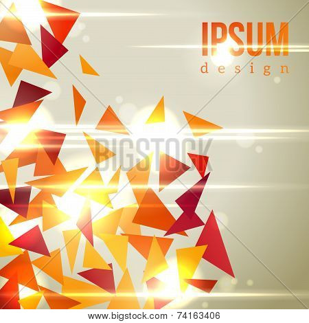 Abstract background with flying triangles and bright sunbeams.
