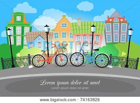 City Bridge Street with Bikes and Lights