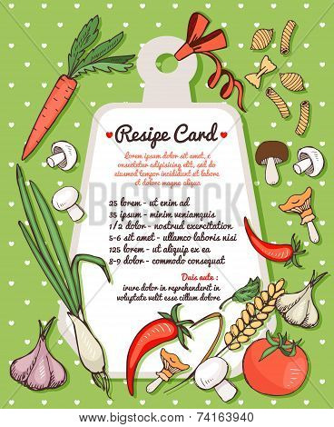 Recipe card with fresh vegetables and pasta