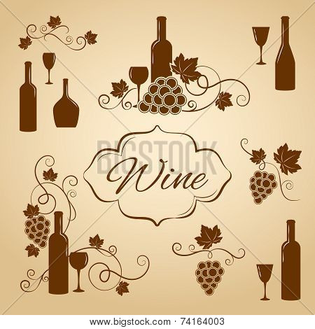 Vintage wine design elements for menu