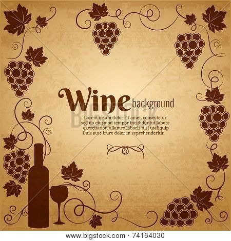 Wine and grapes frame with central copyspace