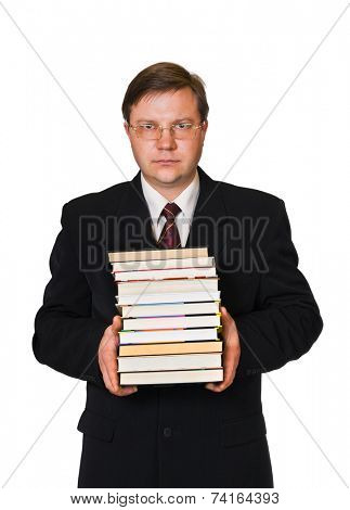 Man with stack of books isolated on white background