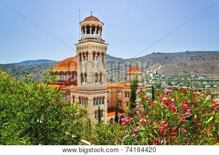 Church Agios Nectarios on island Aegina, Greece - religion background