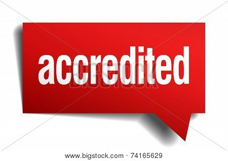 Accredited Red 3D Realistic Paper Speech Bubble