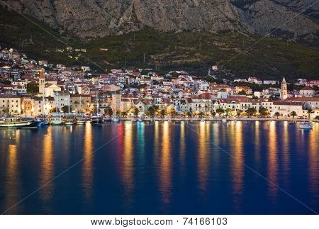 Town Makarska in Croatia at night - travel background