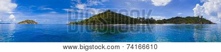 Panorama of tropical island at Seychelles - nature background