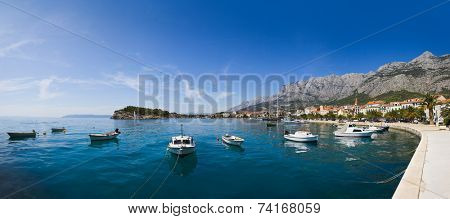 Panorama of Makarska in Croatia - resort travel background