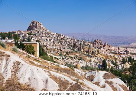 Uchisar cave city in Cappadocia Turkey - nature background