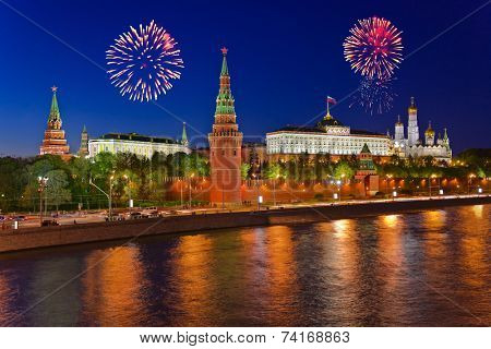 Firework over Kremlin in Moscow (Russia)