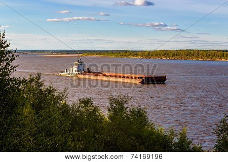 barge on river