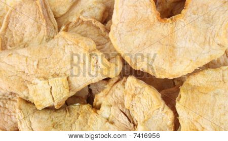 Slices of dehydrated apple
