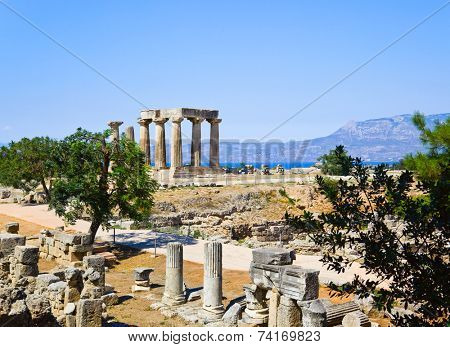 Ruins of temple in Corinth, Greece - archaeology background