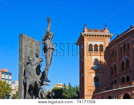 Toreador statue and bullfighting arena in Ventas Plaza - Madrid Spain
