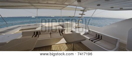 Sundeck of a large private motor yacht