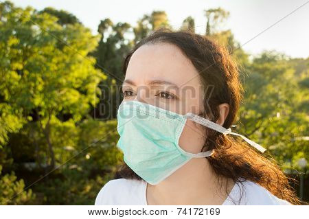 Woman Facing Pollution