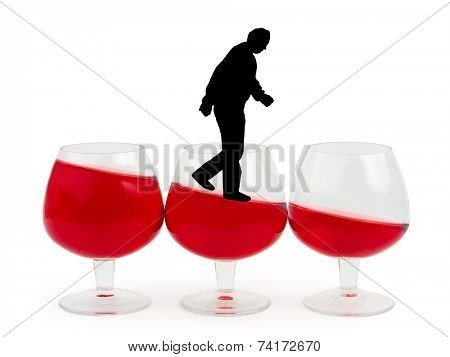 Wine glasses and alcoholic man isolated on white background