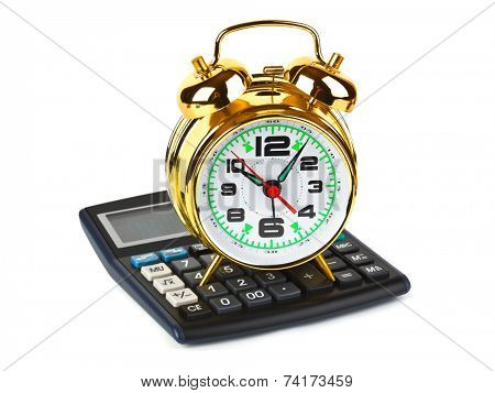 Calculator and clock isolated on white background