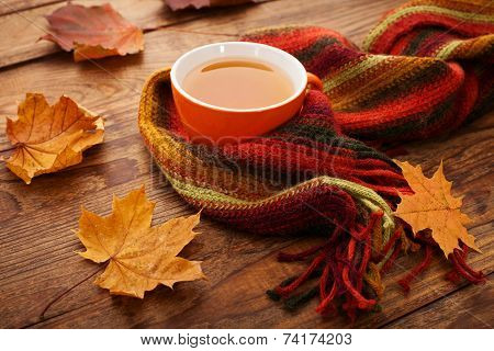 Autumn leaves, book and cup of tea on wooden table in studio