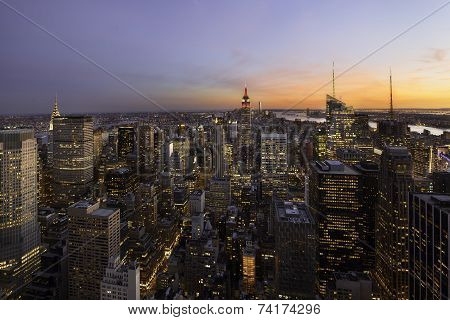 Sunset Over New York, Manhattan