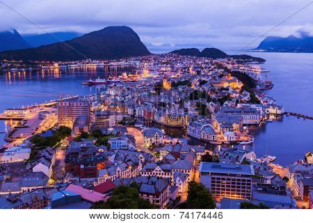 Cityscape of Alesund Norway - architecture background