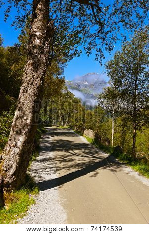 Road to Briksdal glacier - Norway - nature and travel background