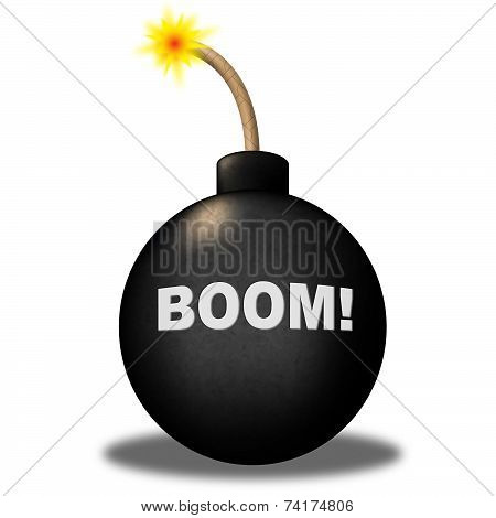 Bomb Boom Indicates Caution Explode And Explosive