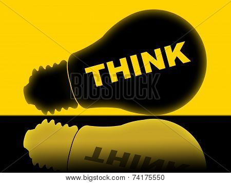 Think Lightbulb Means Contemplate About And Reflect