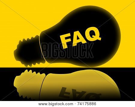 Faq Lightbulb Means Frequently Asked Questions And Answer