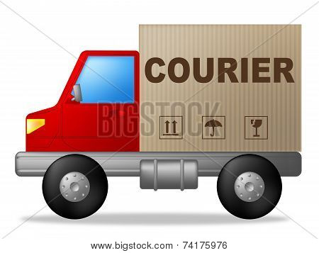 Courier Truck Means Sending Transporting And Deliver