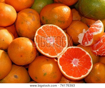 Seedless Ripe Orange For Sale At Vegetable Market