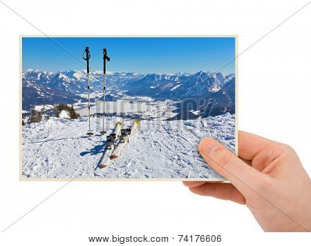 Mountains ski resort (Austria) photography in hand (my photo) isolated on white background