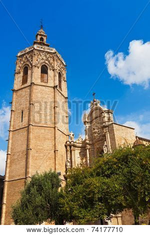 Metropolitan Basilica Cathedral with bell tower in Valencia Spain
