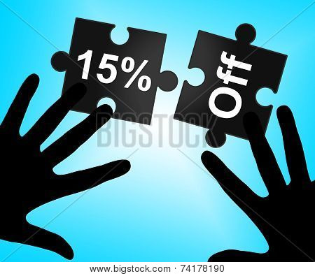 Fifteen Percent Off Represents Sales Promo And Offer
